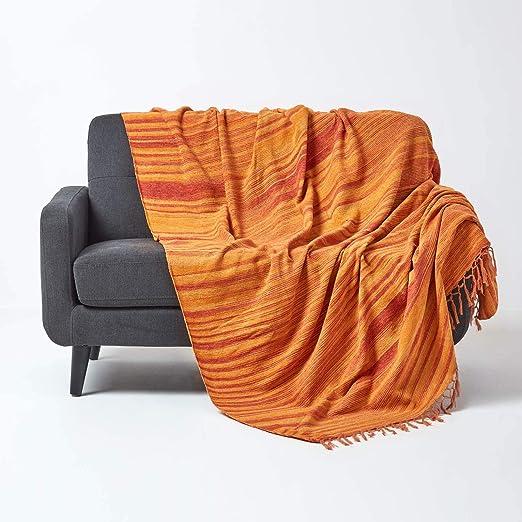 HOMESCAPES Manta/Funda de sofá de algodón Color Naranja 150x200cm: Amazon.es: Hogar