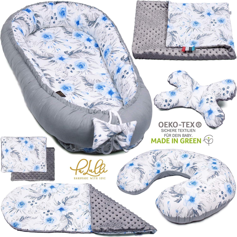 PALULLI - Set de 6 piezas para bebé (nido de 95 x 55 cm, cojín de lactancia, colchón para bebés, manta, cojín plano, cojín cervical, suave como el acurrucar) azul Jardín azul.