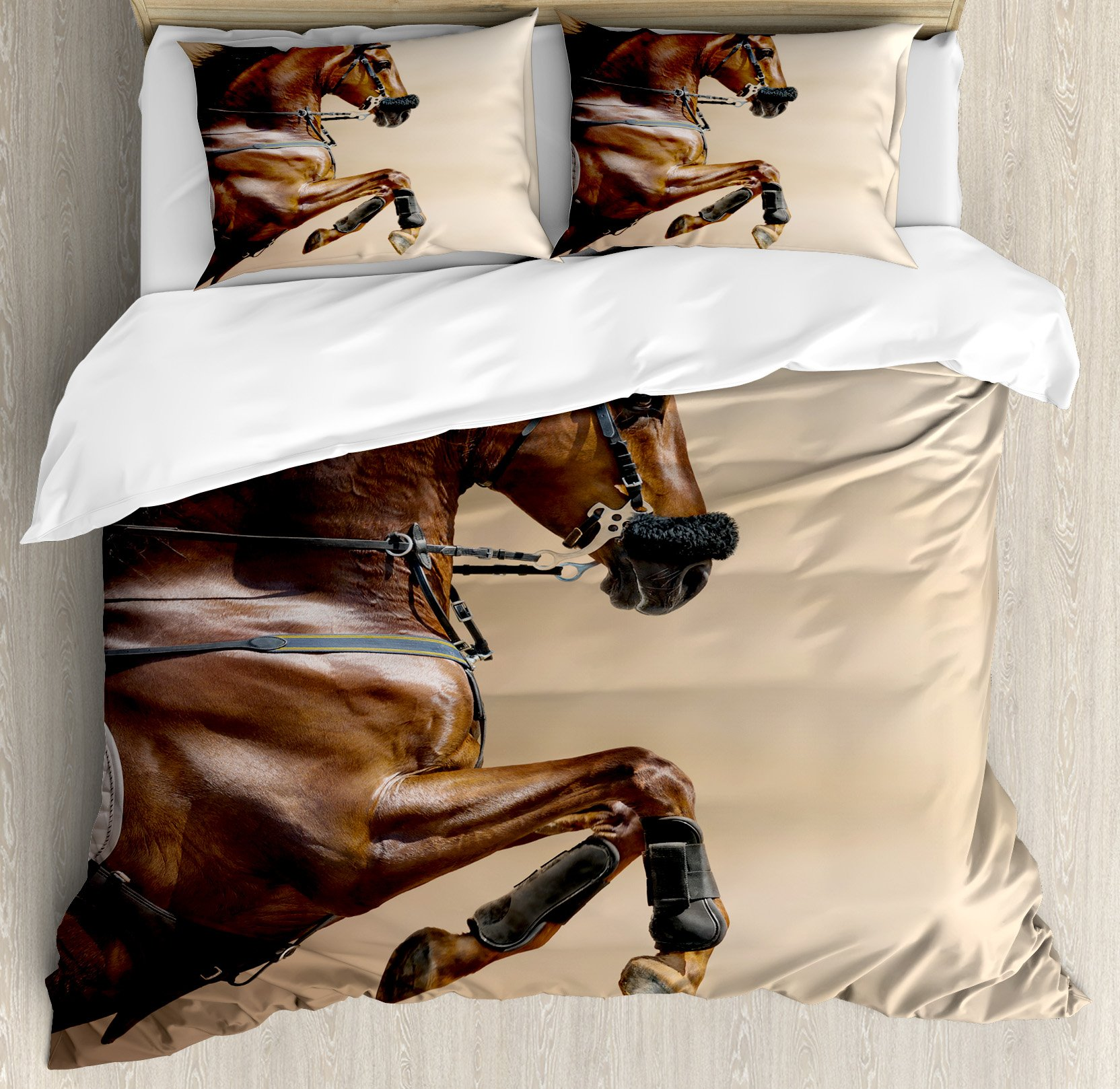 Horses Duvet Cover Set Queen Size by Ambesonne, Chestnut Color Horse Jumping in Hackamore Life Force Power Honor Love Sign Print, Decorative 3 Piece Bedding Set with 2 Pillow Shams, Brown Cream