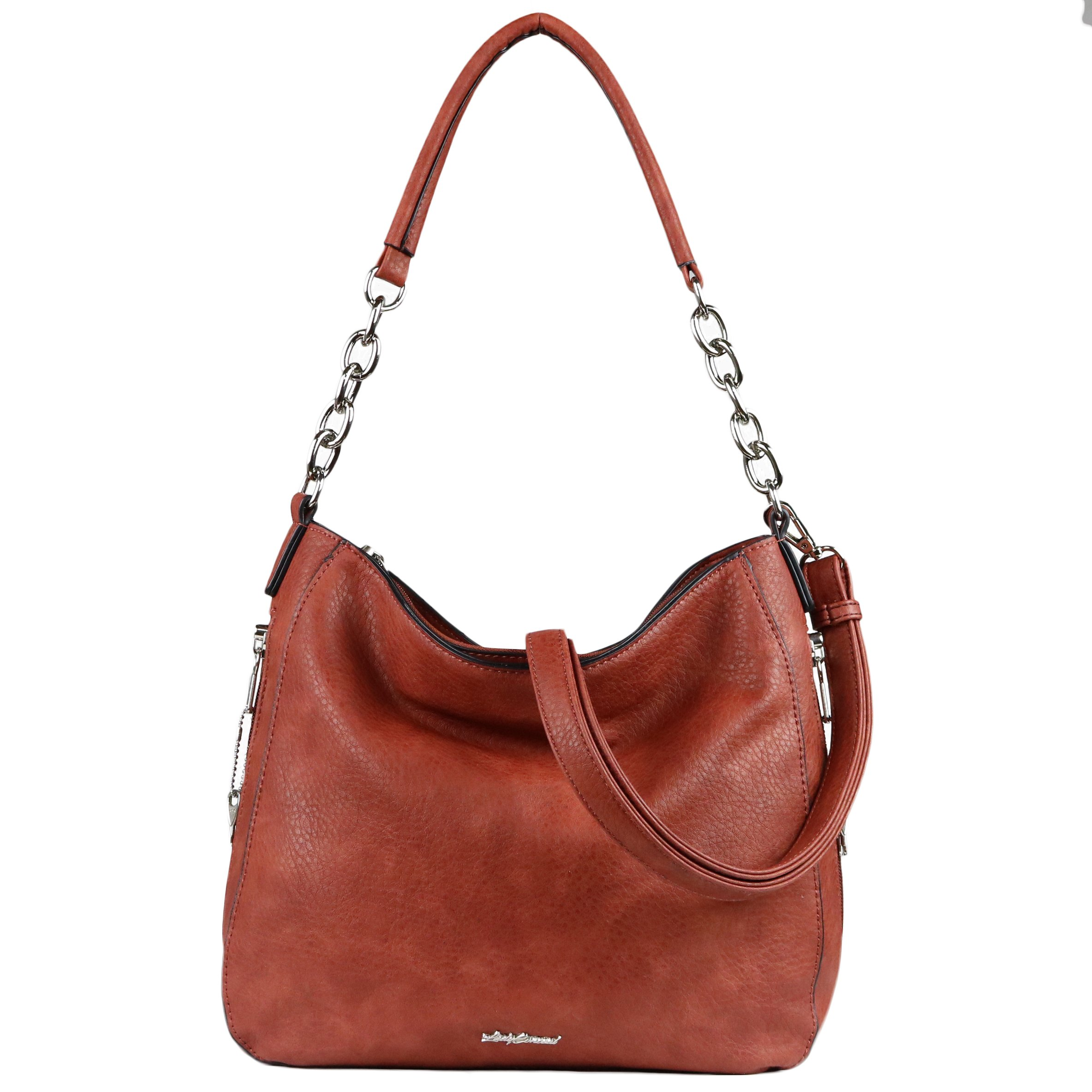 Concealed Carry Purse - YKK Locking Ashley Chain Concealed Carry Gun Hobo by Lady Conceal (Mahogany)