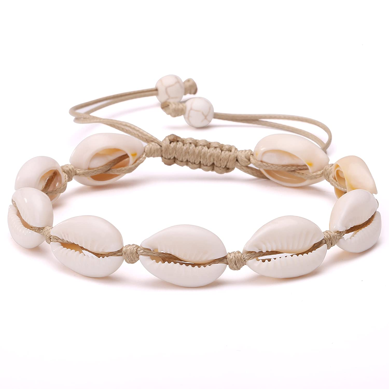 POTESSA Natural Cowrie Beads Shell Anklet Bracelet Handmade Beach Foot Jewelry Hawaiian Jamaican Style Adjustable for Women Unisex FPA-034-B