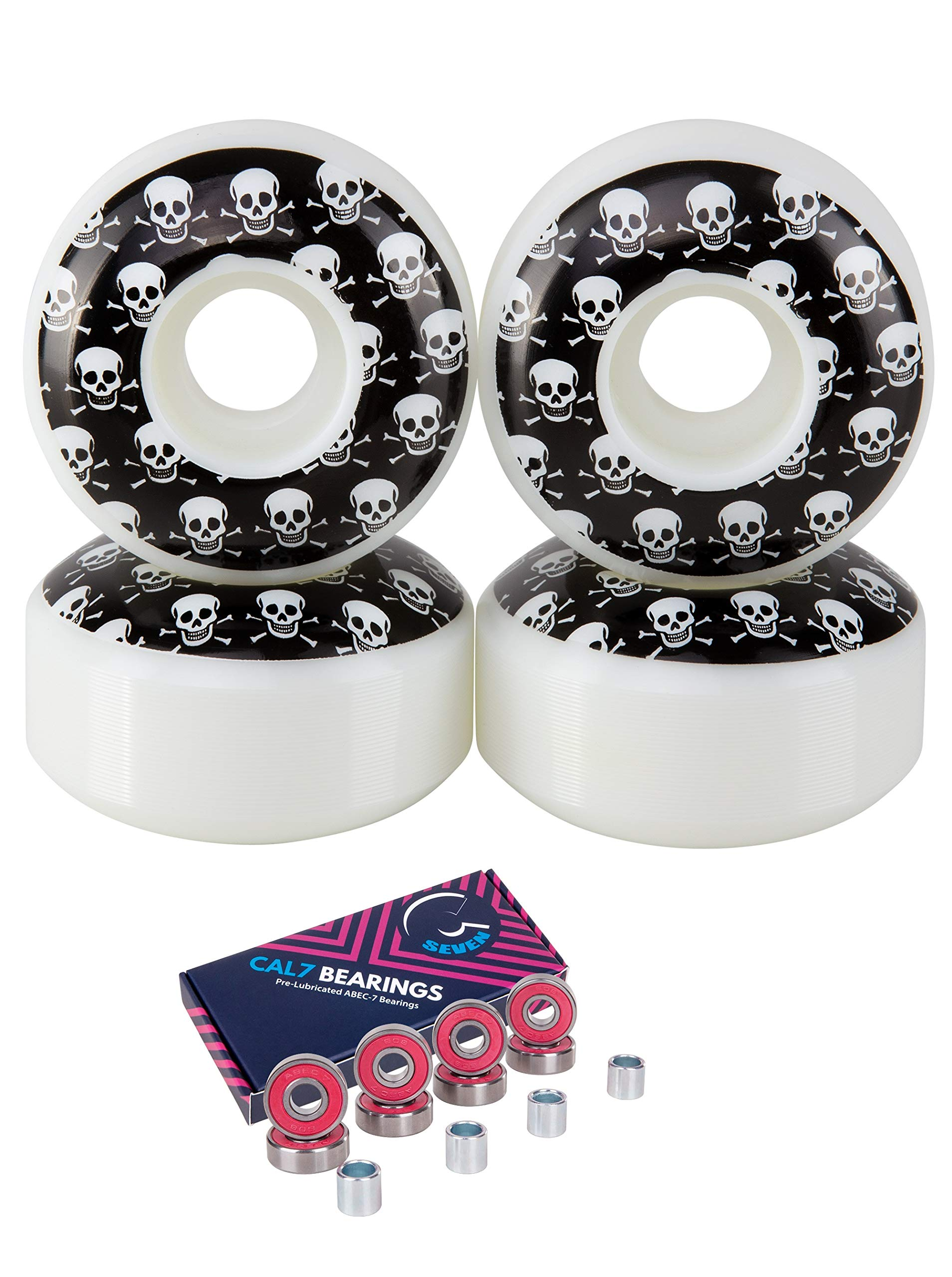 Cal 7 Skateboard Wheels and Bearings | 52mm 100A Wheel Set Combo (Crossbone) by Cal 7