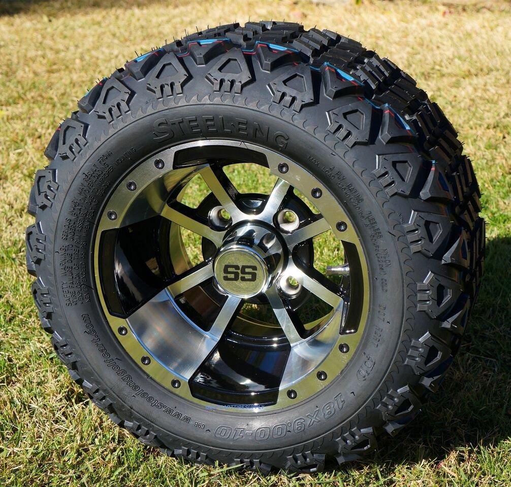 10'' STORM TROOPER Machined/Black Golf Cart Wheels and 18x9-10 DOT All Terrain Golf Cart Tires Combo - Set of 4 (Fits All Carts!)