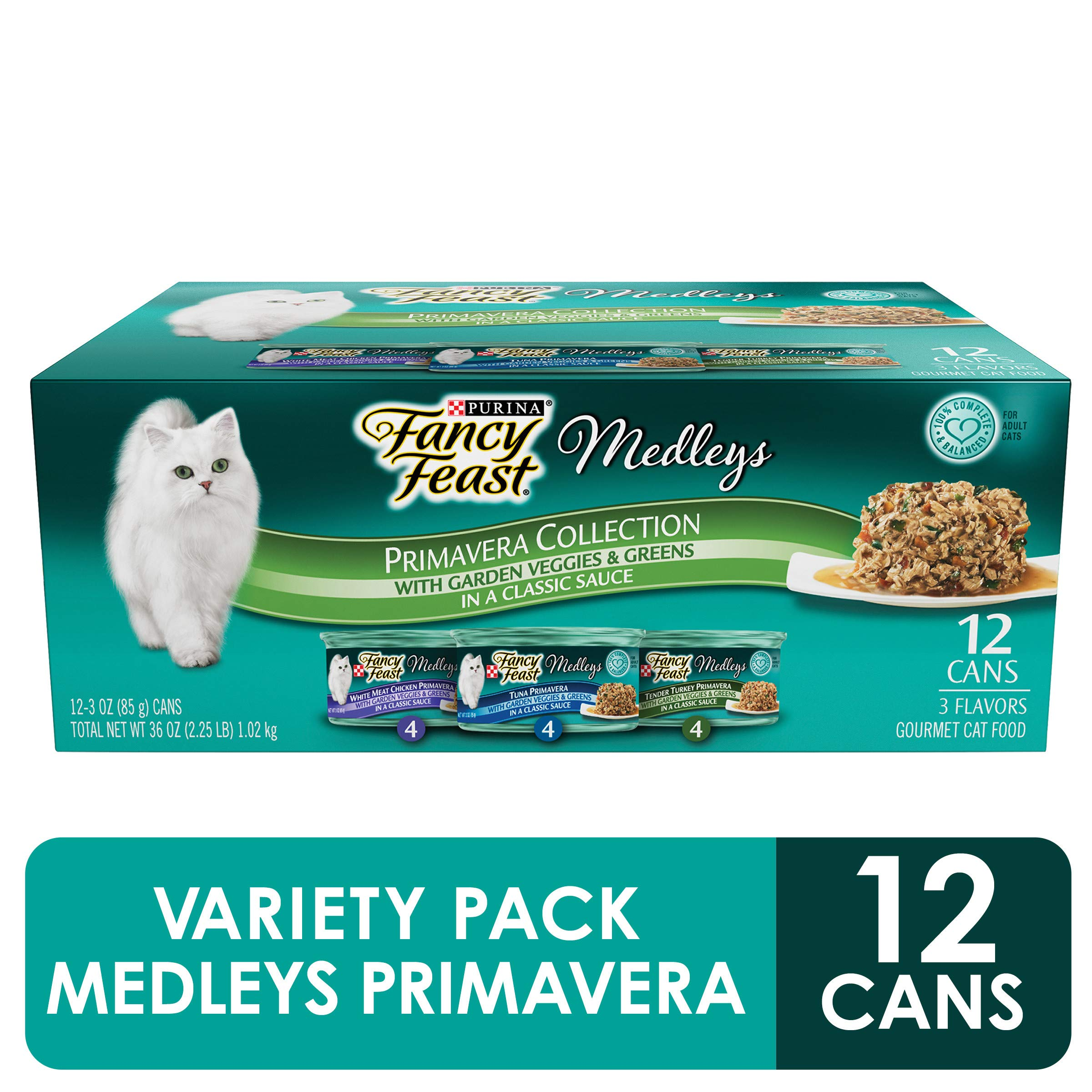 Purina Fancy Feast Gravy Wet Cat Food Variety Pack, Medleys Primavera Collection - (2 Packs of 12) 3 oz. Cans by Purina Fancy Feast