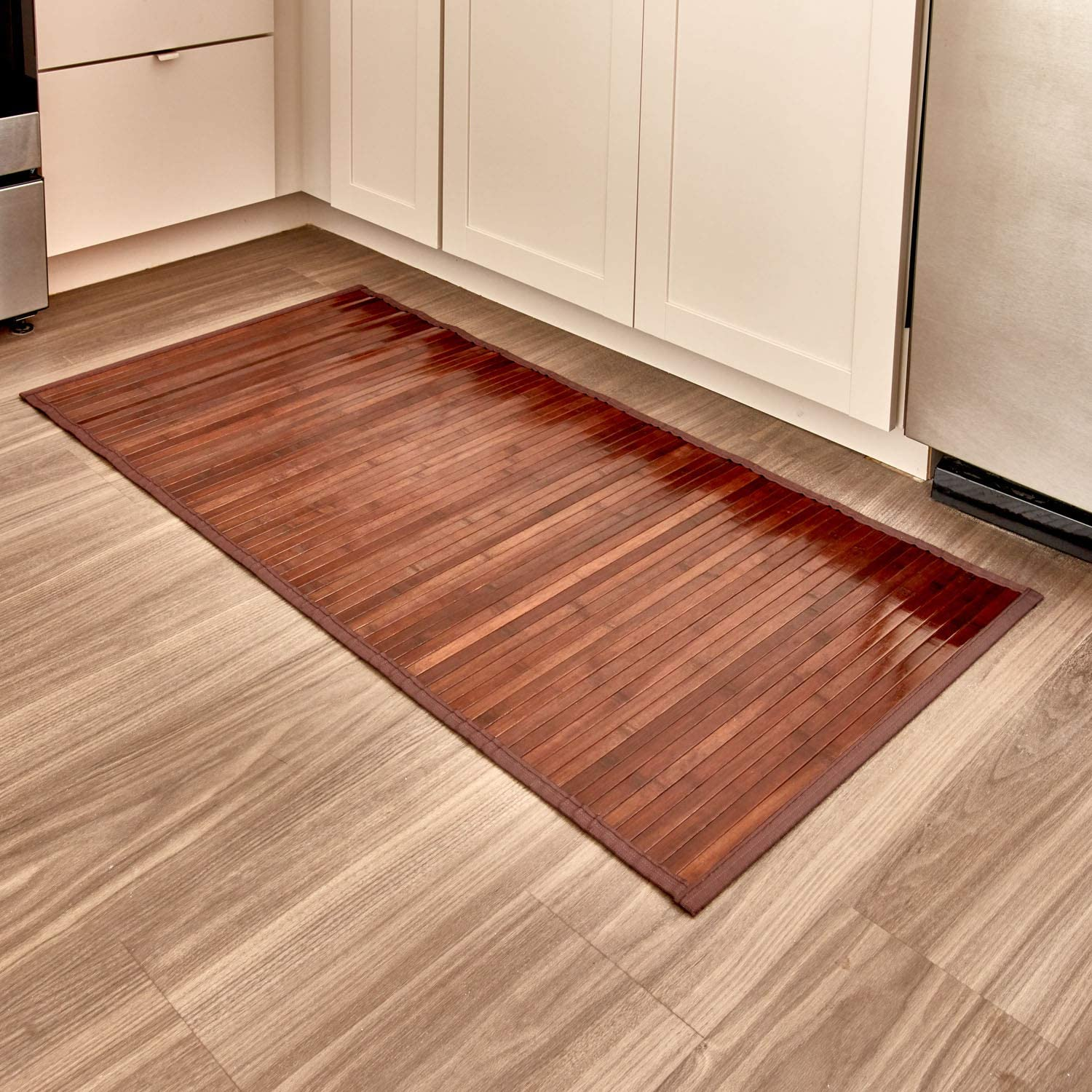 "iDesign Formbu Bamboo Floor Mat Non-Skid, Water-Resistant Runner Rug for Bathroom, Kitchen, Entryway, Hallway, Office, Mudroom, Vanity , 48"" x 24"", Mocha Brown"