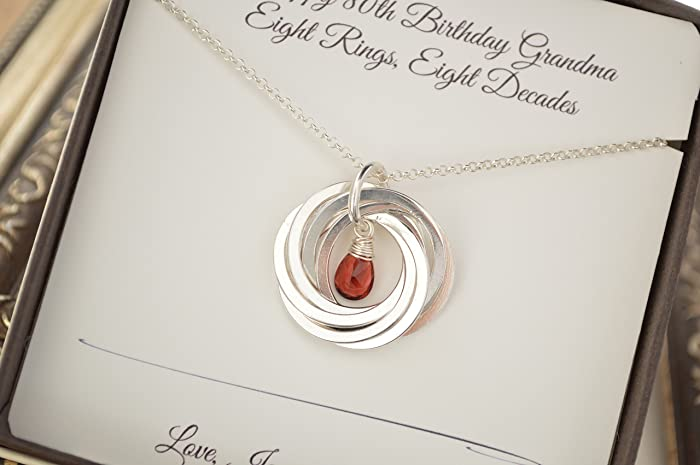 80th Birthday Gift For Mom And Grandma Garnet Birthstone Necklace January Gifts