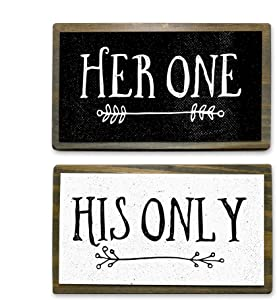 ANVEVO Her One, His Only - Two Handmade Rustic Couple Metal Wood Signs – Cute Rustic Wall Decor Art - Farmhouse Decorations – Couple Bathroom Signs