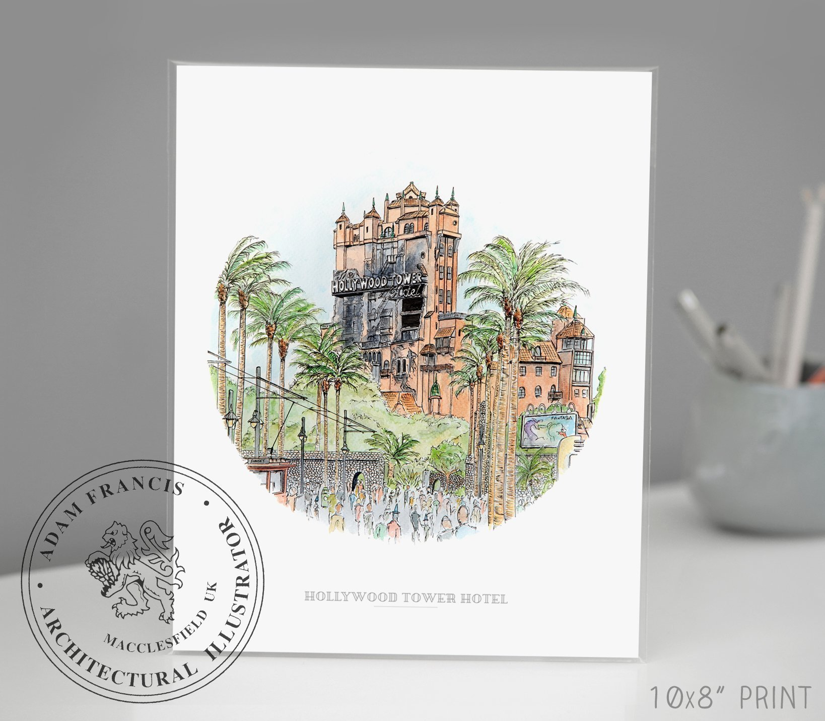 Hollywood Studios | Hollywood Tower Hotel | Art prints | Home Decor | Wall Art. High Quality Prints taken from my Original Detailed Illustration & Watercolor.