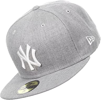 27a9e7fb6b2 New Era New York NY Yankees MLB Heather Grey League Basic 59Fifty Fitted  Baseball Cap  Amazon.co.uk  Clothing