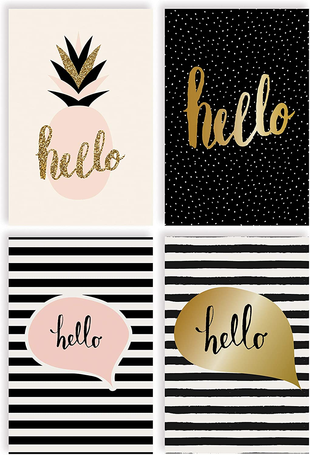 Hello Greeting Cards, All Occasion Cards, 100-Pack, 4 x 6 inch, 4 Elegant Cover Designs, Blank Inside, by Better Office Products, Thinking of You Cards, Hello Note Cards, with Envelopes, 100 Pack
