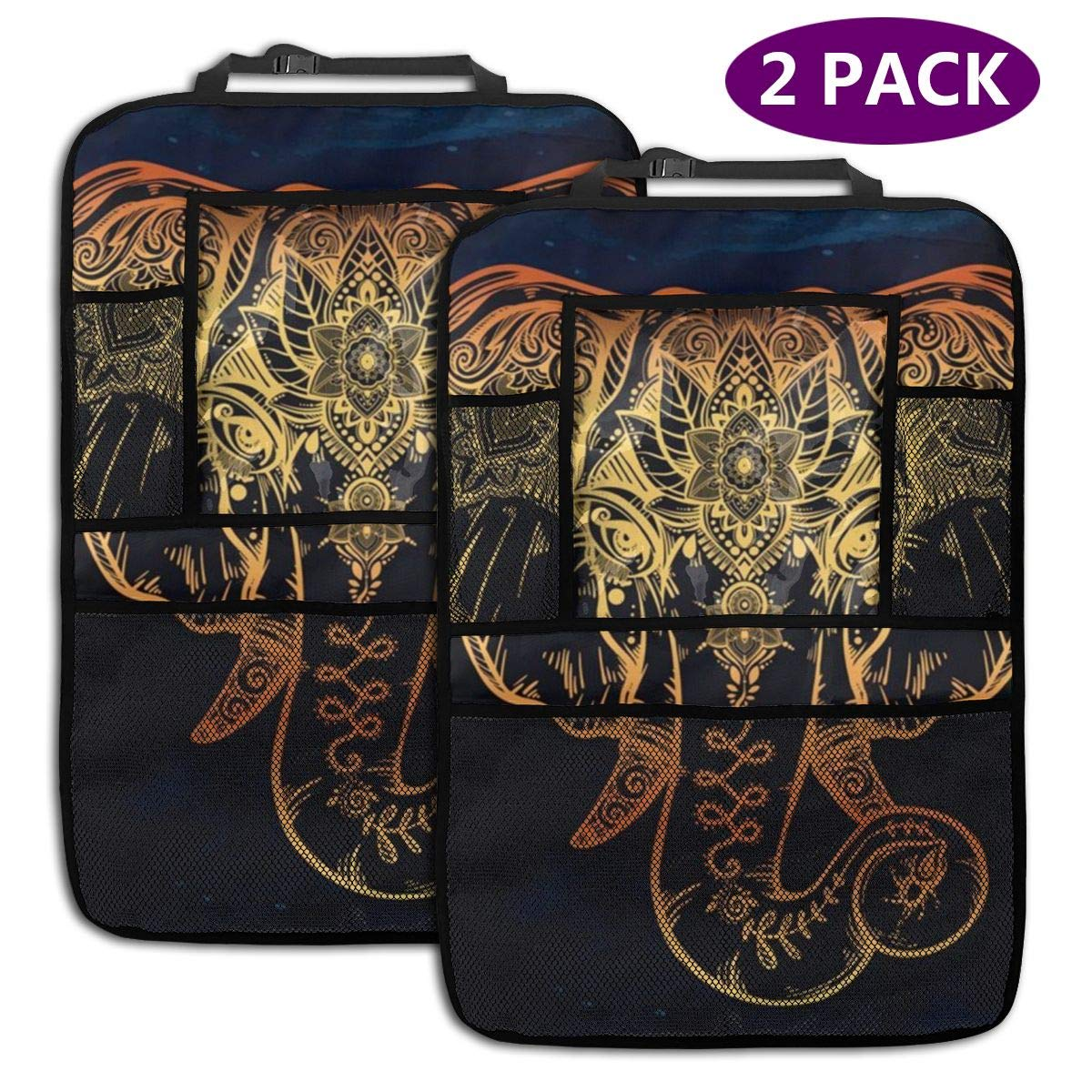 QF6FEICHAN The Golden Elephant Car Seat Back Protectors with Storage Pockets Kick Mats Accessories for Kids and Toddlers by QF6FEICHAN
