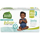 Seventh Generation Baby Diapers for Sensitive Skin, Size 3, 155 count (Packaging May Vary)
