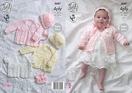 4826ddf3863c King Cole Baby 4 Ply Knitting Pattern for Raglan Sleeve Matinee ...
