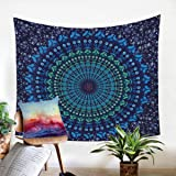 Sleepwish Mandala Tapestry Wall Decor Hippie Tapestry Blue College Dorm Room Decor Boho Bedspread Twin 85 x 55 inch