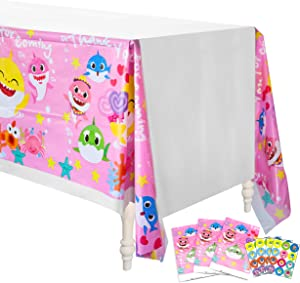 """TICIAGA Baby Cute Shark Tablecloth, 4 Pack 42.5""""x 70.9"""" Pink Doo Doo Shark Family Disposable Plastic Picnic Table Cover for Kids Birthday, Thank You for Coming Shark Theme Party Decoration Supplies"""