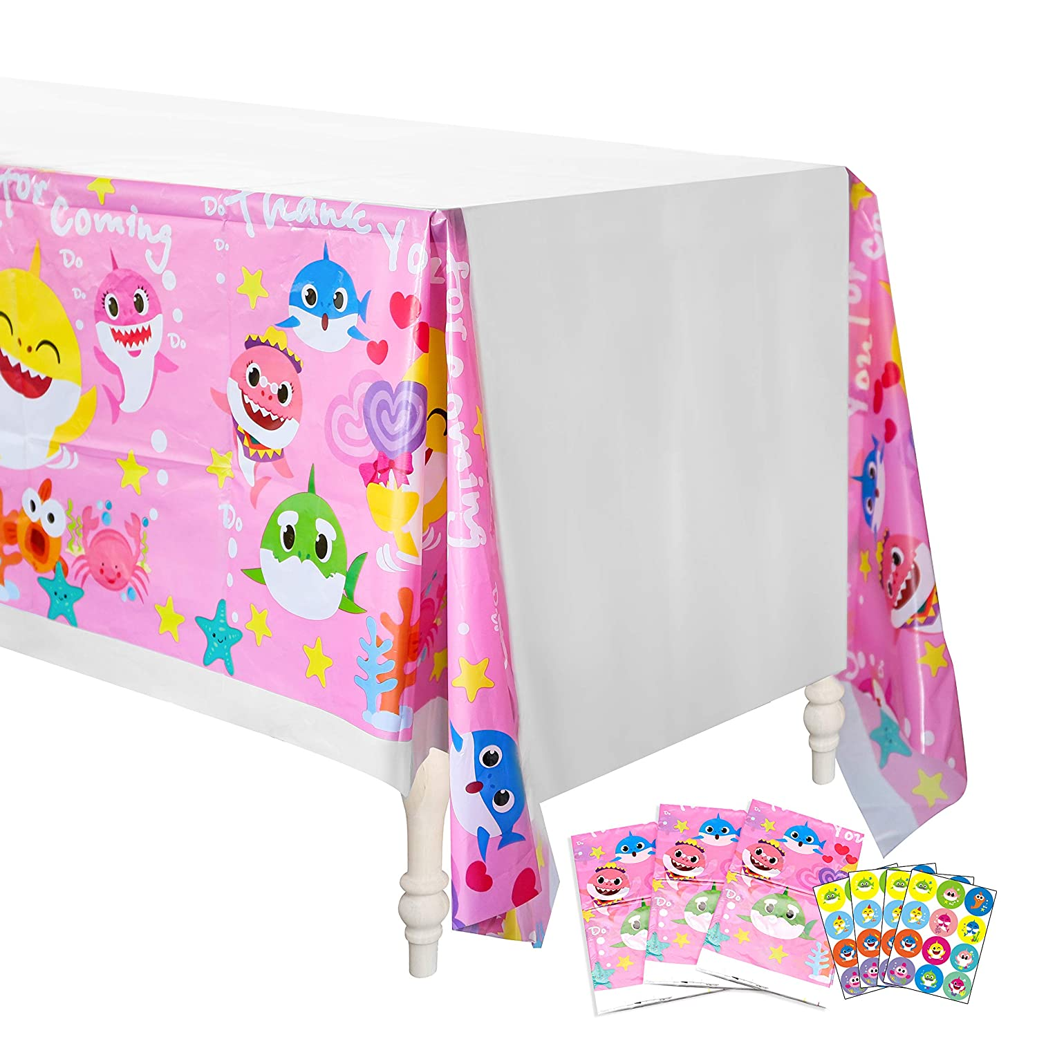 Thank You for Coming Shark Theme Party Decoration Supplies Ticiaga Baby Cute Shark Tablecloth 4 Pack 42.5 x 71 Inch Pink Doo Doo Shark Family Disposable Plastic Picnic Table Cover for Kids Birthday