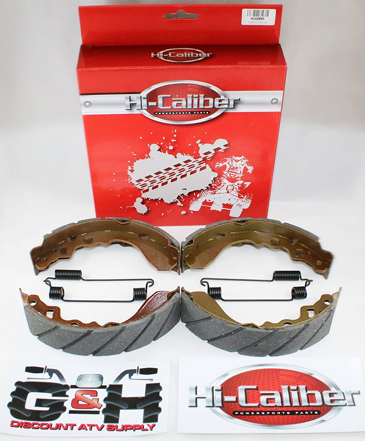 2 Sets WATER GROOVED FRONT BRAKE SHOES & SPRINGS for the Kawasaki Mule 550 KAF 300 C1-C7 Hi-Caliber Powersports Parts