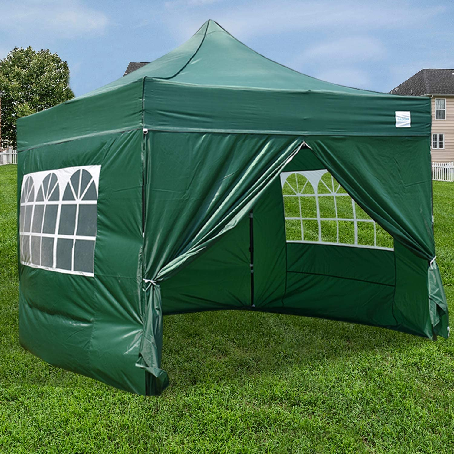 Galsoar Pop Up Canopy 10×10 Commercial Gazebos, Ez Up Canopy Tent Instant Shelter with 4 Removable Sidewalls and Roller Bag Bonus 4 Weight Bags, Suitable for Party, Picnics, Market Stall, Green