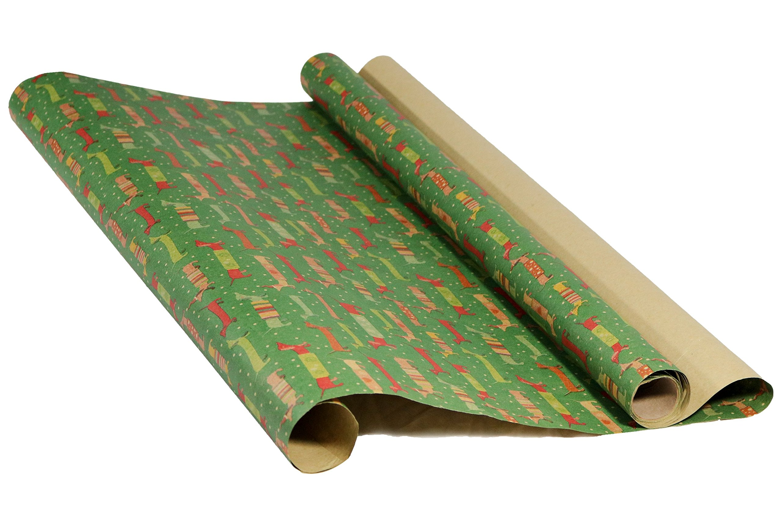 Holiday Retro Printed Kraft Wrapping Paper (Dog Santas-Christmas Space Ornaments-Pink Xmas Trees)