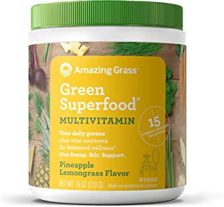 product image for Amazing Grass Green Superfood Multi-Vitamin: Organic Plant Based Multi-Vitamin Powder packed with 15+ Vitamins & Minerals, Immune Support, Pineapple Lemongrass Flavor, 30 Servings,7.4 Ounce (1 Count)