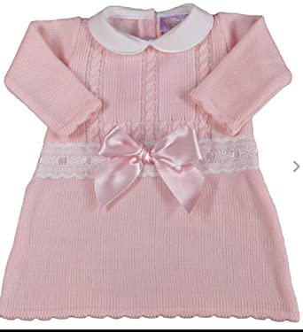 6f96472f4 DIZZY DAISY Baby Girl Spanish Style Knitted Bow Dress with LACE Trim 0-3  Months: Amazon.co.uk: Clothing