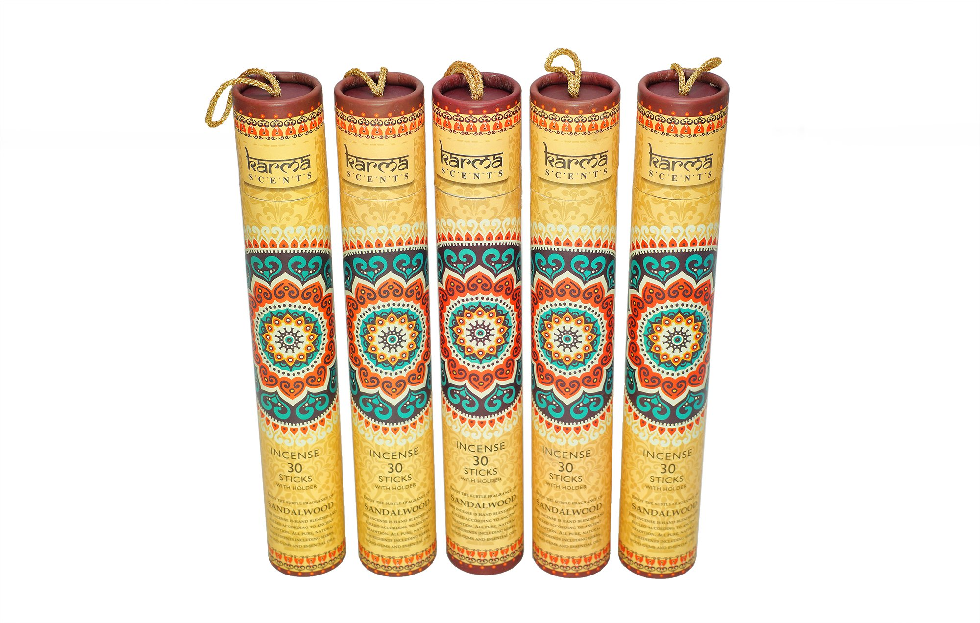 Premium Sandalwood Incense Sticks 5 Set Gift Pack with a Holder In Each Box, Includes 150 Sticks and Five Incense Burners by Karma Scents (Image #1)