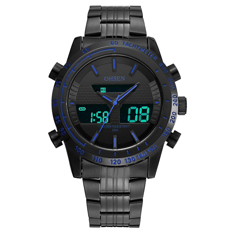 Amazon.com: OHSEN Fashion Reloj Hombre Full Steel Watches Men Luxury Brand Clock Men Wristwatch Sport Quartz-Watch Waterproof Montre Homme: Watches