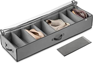 Under Bed Shoe Storage Organizer (8 Pairs) Under Bed Storage for Shoes, Customizable Slots for Boots, Clothes Blanket/Comforter Underbed Shoe Storage Containers with Handles (Grey)