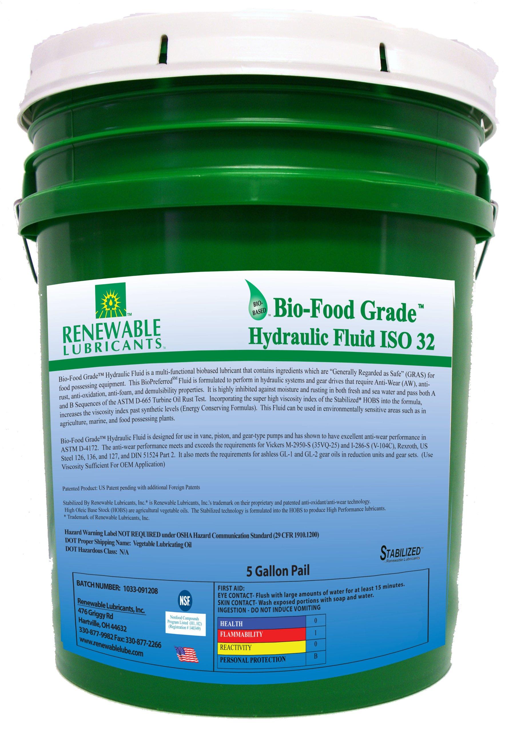 Renewable Lubricants Bio-Food Grade ISO 32 Hydraulic Fluid, 5 Gallon Pail