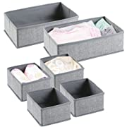 mDesign Fabric Nursery Storage Organizer Set for Baby Clothes, Onesies, Diapers - Set of 6, Gray