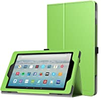 MoKo Hülle Fire HD 10 Tablet (7th Gen.- 2017 Modell) - Kunstleder Ständer Schutzhülle Smart Cover mit Auto Sleep/Wake up für All-New Amazon Fire HD 10,1 Zoll Tablette, Grün