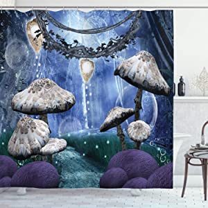 Ambesonne Trippy Shower Curtain, Abstract Dreamlike Forest Scenery at Night with Mushrooms Pixie Dust and Bubbles, Cloth Fabric Bathroom Decor Set with Hooks, 70