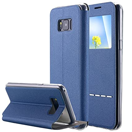 buy popular 546cc 0bbdb Galaxy S8 Plus Case, LONTECT Slim Thin View Window PU Leather Flip Case  with Smart Unlock Metal Slide Touch for Samsung Galaxy S8 Plus - Blue