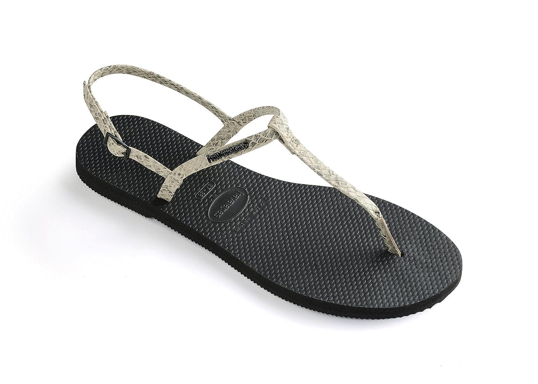 Havaianas Unisex Schuhe Damen und Herren, Riviera Croco, Sandalen mit Zehentrenner und Riemen Aus gemustertem Ouml;koleder  39 EU|Beige