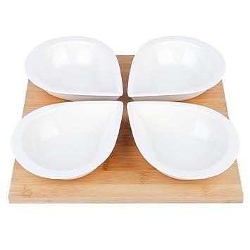 vancasso Juego de Cuencos de Porcelana, 5 Piezas Cuenco de Servir con Bandeja de Bambú, Salsas para Aperitivos/Tapas Servir Cuencos: Amazon.es: Hogar