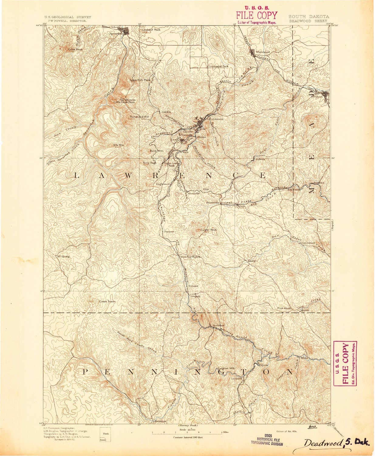 30 X 30 Minute Historical 1894 YellowMaps Deadwood SD topo map 20 x 16.5 in 1:125000 Scale