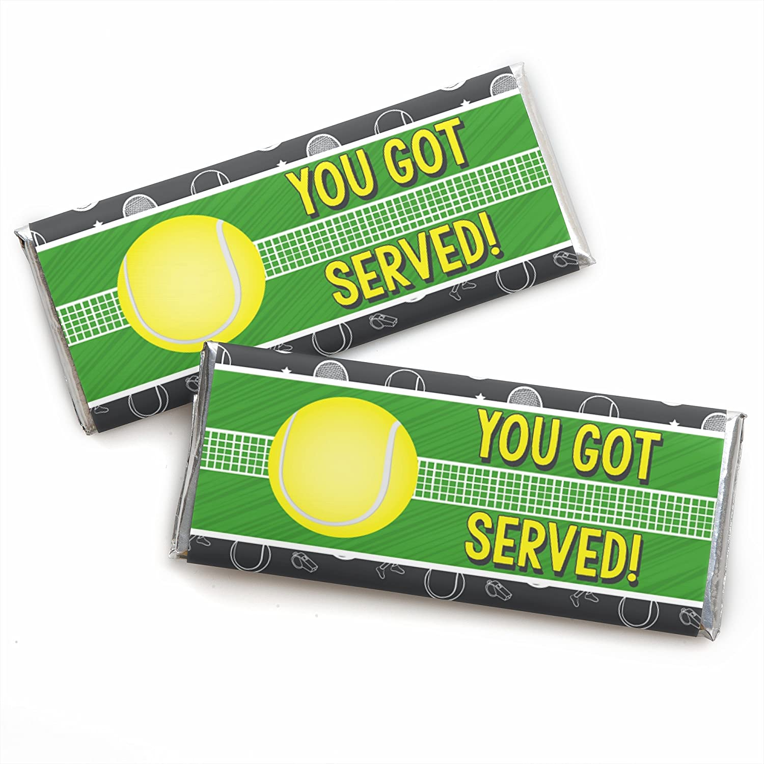Set of 24 You Got Served Tennis Candy Bar Wrapper Baby Shower or Tennis Ball Birthday Party Favors