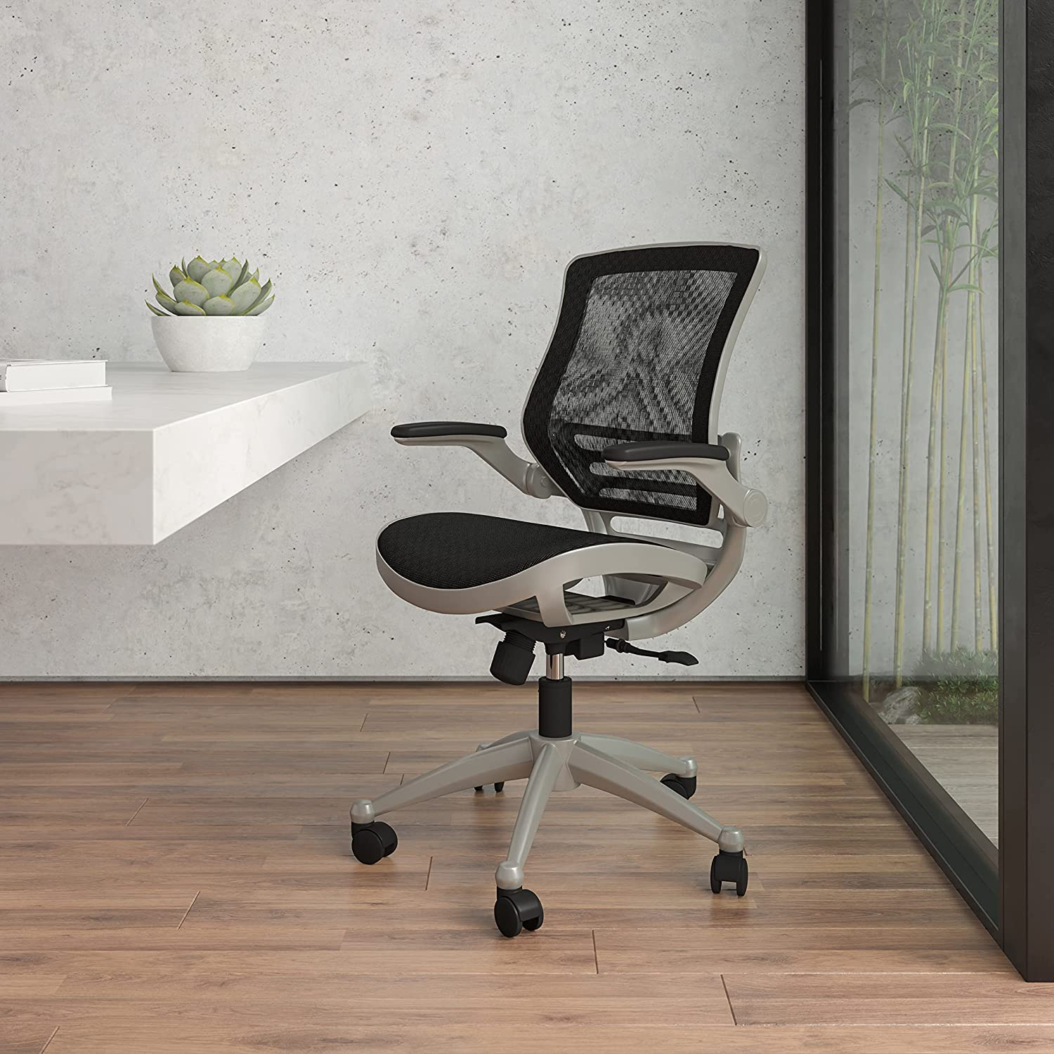 Flash Furniture Mid-Back Transparent Black Mesh Executive Swivel Office Chair with Graphite Silver Frame and Flip-Up Arms
