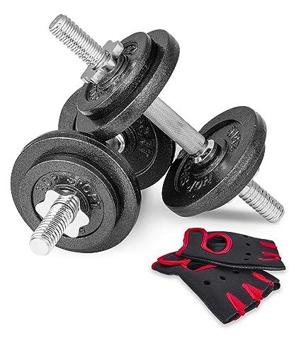 Hop-Sport - Juego de halteras (20 kg, 2 Unidades de 10 kg, Hierro ...