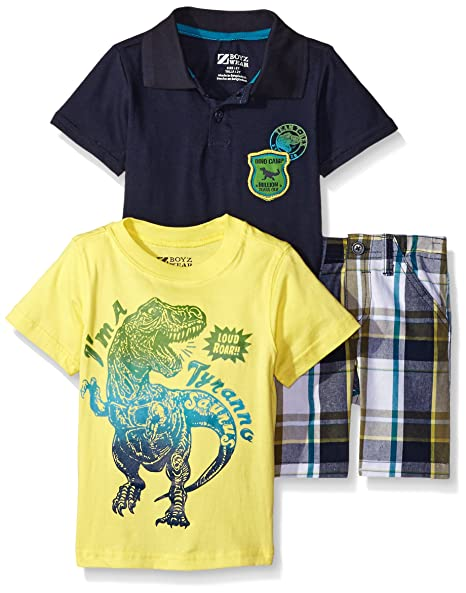 6ae48dffb444 Amazon.com  BoyzWear Little Boys  3 Piece Dinosaur Tee with Polo Shirt and  Plaid Short Set