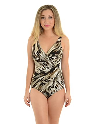41cd773f63ce1 Miraclesuit Womens Swimwear Slimming One Piece Swimsuit Black Gray Brown  Print Sizes: 12