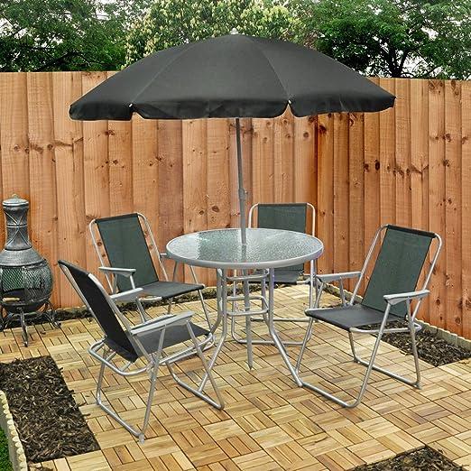 4 sillas de jardín mesa para sombrilla + (fs6pb): Amazon.es: Jardín