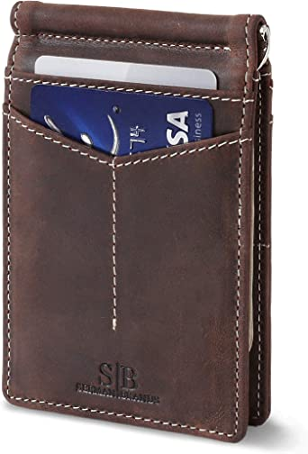 RFID Blocking Leather Slim Bifold Front Pocket Genuine Women Men/'s Wallet