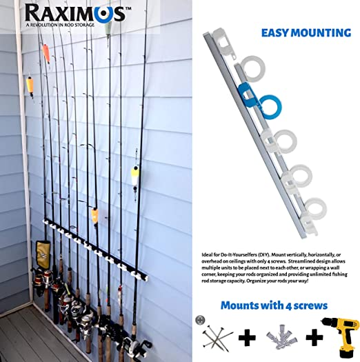 Amazon Com Raximus Performance Fishing Rod Rack Modular Adjustable Expandable Horizontal Vertical Or Ceiling Mounted 5 Rod Holder Get Organized With Raximus Dark Blue Clothing