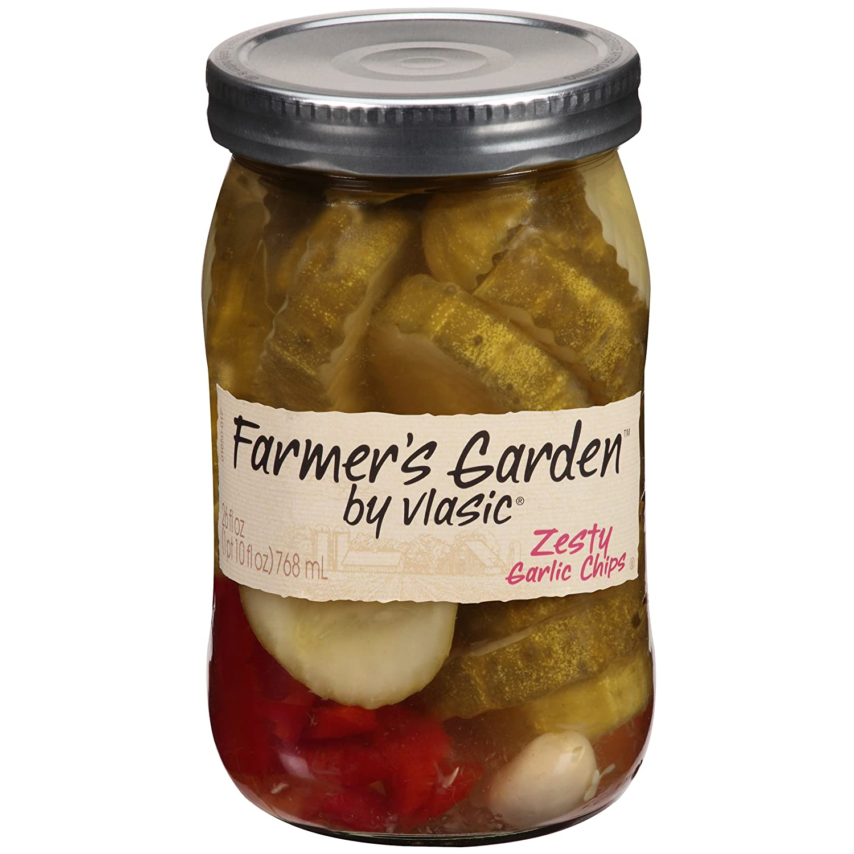 Farmer's Garden by Vlasic, Zesty Garlic Pickle Chips, 26 Ounce (Pack of 6)