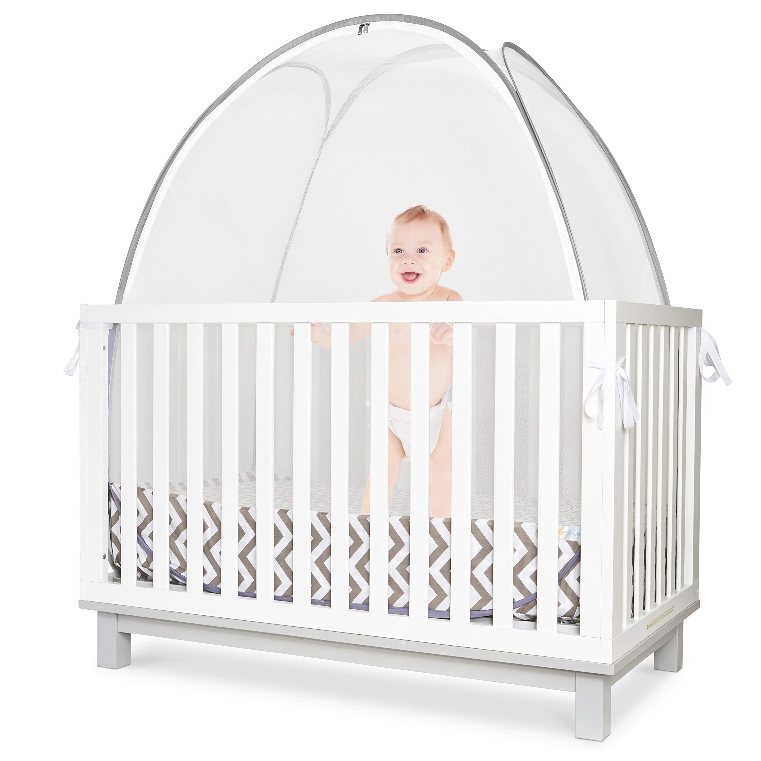 KinderSense - Baby Crib Safety Tent   Premium See Through Mesh Sturdy Pop Up Canopy Cover Mosquito Net   Prevent & Protect Infant Child from Climbing Out of Bed & from Insects Bugs   CPSC Tested Safe