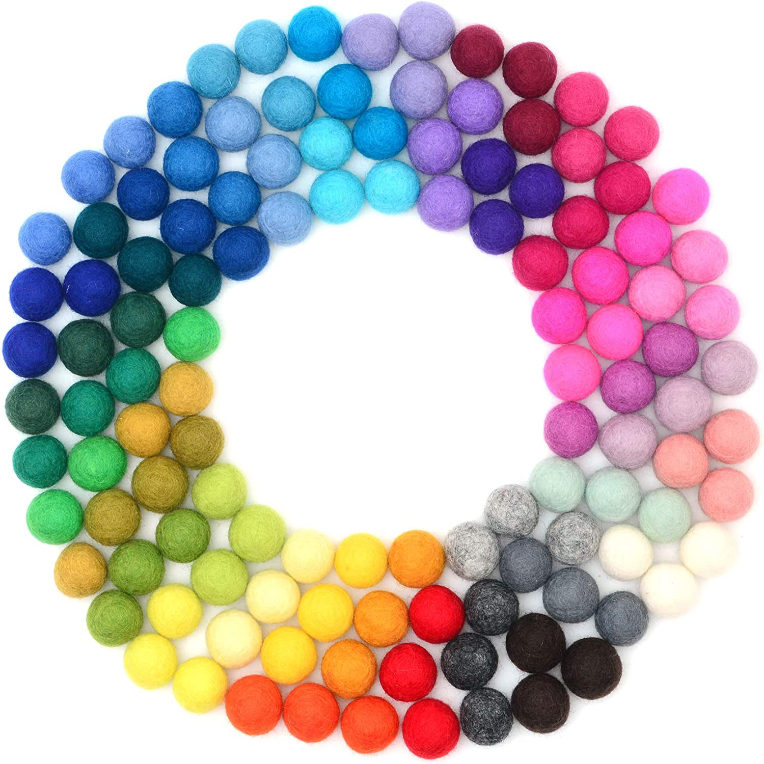 Glaciart One Felt Pom Poms, Felt Balls (120 Pieces) 2.5 Centimeters - 1 Inch, Handmade Felted 40 Color (Red, Pink, Blue, Orange, Yellow, Pastel and More) Bulk Small Puff for Felting and Garland