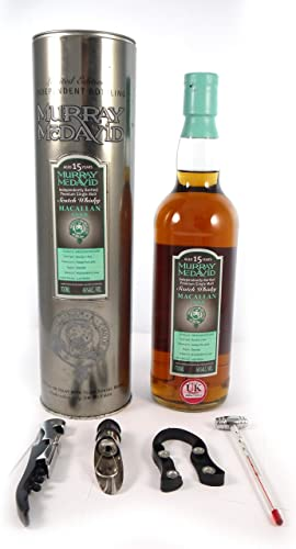 Macallan 15 Year Old Speyside Scotch Whisky 1989 Murray McDavid Bottling en una caja de regalo con cuatro accesorios de vino, 1 x 700ml: Amazon.es: Alimentación y bebidas