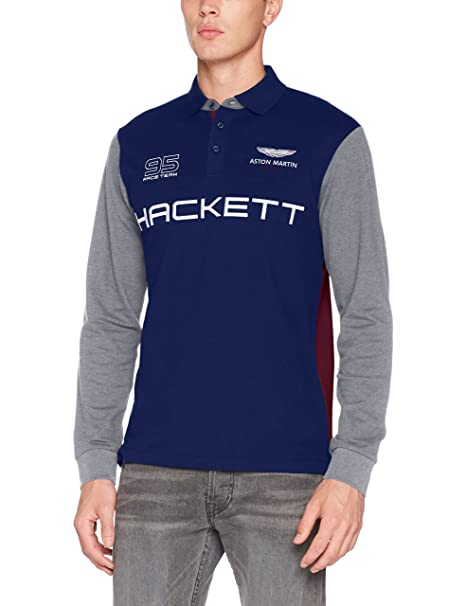 Hackett London Aston Martin Racing MLT WNGS LS Mens Polo AW17 Navy ...