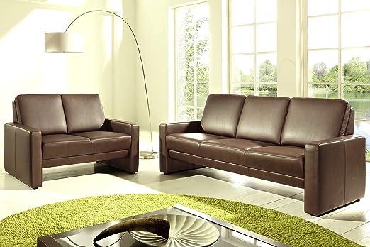 Leder Sofa Garnitur Couch 3 Sitzer 2 Sitzer Turin V1